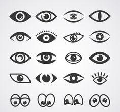 20 models designed cartoon eyes vector material