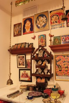 Wood structure on the wall and hanging bells puja room design. home mandir. Indian Home Design, Indian Interior Design, Indian Home Decor, Indian Inspired Decor, Pooja Mandir, Pooja Room Door Design, Home Altar, Indian Interiors, Puja Room
