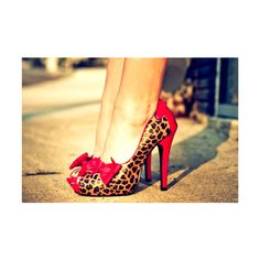 Red Bow Leopard Shoes found on Polyvore