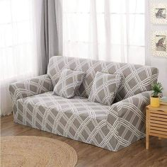 Geometric Loveseats Slipcovers - Sectional Elastic Stretch Sofa Cover for Living Room Couch Cover L shape Armchair Cover Single/Two/Three seat, Color 20 / Corner Sofa Covers, Couch Covers, Pillow Covers, Loveseat Slipcovers, Sectional Sofa, Furniture Covers, Sofa Furniture, Plaid Sofa, Ikea