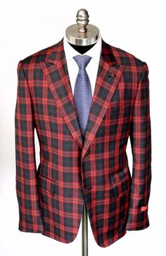 #Black & #red have never been better combined than in this twist on Mackenzie #tartan #plaid.  |  Find yours! http://www.frieschskys.com/blazers  |  #frieschskys #men #mensfashion #fashion #mensstyle #style #moda #menswear #dapper #stylish #MadeInItaly #Italy #couture #highfashion