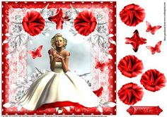 Beautiful lady in white 1950 s style topper on Craftsuprint designed by Julie Hutchings - Beauty in red and white topper with decoupage and sentiment tag With Love - Now available for download!
