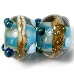 Handmade Lampwork Bead Pair Sky Blue Glass Ivory Stripe Band Dots SRA | Covergirlbeads - Jewelry on ArtFire