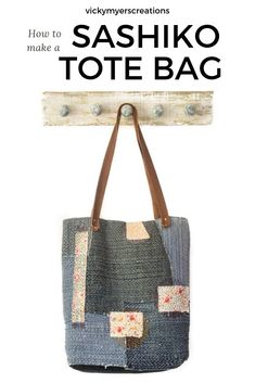 Sashiko Do you love hand sewing? Then this sashiko denim tote bag is for you. Use your old favorite jeans to sew a slow stitched tote bag Zipper Pouch Tutorial, Tote Tutorial, Tote Pattern, Bag Patterns To Sew, Sewing Patterns, Denim Tote Bags, Textiles, Denim Shoulder Bags, Japanese Embroidery