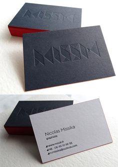 black white blind deboss business card