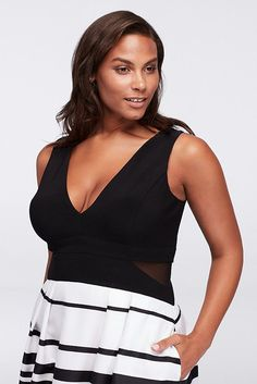 Bands of black and white flow down the patterned full skirt of this plus size ball gown, balanced by a sleek deep V-neckline. By Xscape Polyester Back zipper; fully lined Dry clean USA Also available in regular Plus Size Wedding Guest Dresses, Plus Size Summer, Davids Bridal, Ball Gowns, Athletic Tank Tops, Camisole Top, Clothes, Mesh, List Template