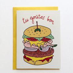 Carte de voeux thématique nourriture; Burger avec jambes, inscription Tu goûtes…
