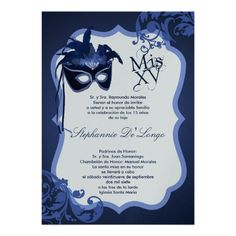 5x7 Blue Masquerade Mask Quinceanera Invitation