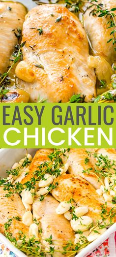 Garlic Chicken is a delicious dairy-free dinner recipe thats easy enough for weeknights and refined enough for special occasions. Made with chicken garlic olive oil thyme salt and pepper. Sugar Free Recipes Dinner, Salt Free Recipes, Lactose Free Recipes, Easy Dinner Recipes, Dip Recipes, Sodium Free Recipes, Holiday Recipes, Easy Recipes, Dinner Ideas