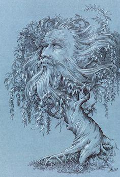 tree-god / pen&ink / graphic art
