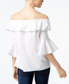 INC Petite Cotton Off-The-Shoulder Ruffle Top, Created for Macy's - White P/XL