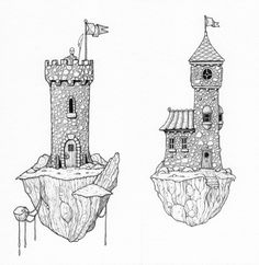 The Towers. Working on some medieval (ish) buildings at the moment, these are the first couple to be finished. Ink Pen Drawings, Drawing Sketches, Leaf Drawing, Fantasy Castle, Art Challenge, Monuments, Digital Illustration, Line Art, Concept Art