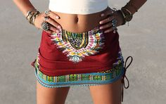 OX BLOOD High or Low waist Tribal skirt Tribal by BlondeVagabond