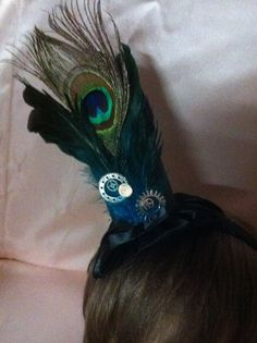 Lovely New  STEAMPUNK Fascinator Blue/Black Satin with feathers on a  Headband  #Unbranded #SpecialOccasion #none