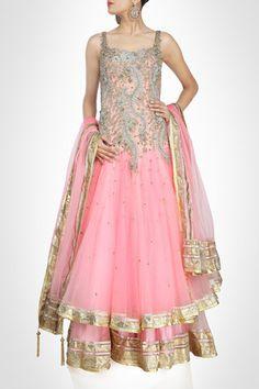 Pink color ananrkali suit type lehenga online – Panache Haute Couture