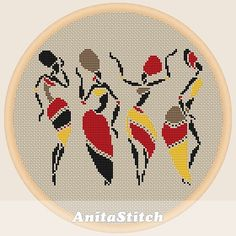 African dancing women - Cross stitch pattern, You can create very unique patterns for textiles with cross stitch. Cross stitch designs can almost surprise you. Cross stitch beginners may make the designs they desire without difficulty. Fall Cross Stitch, Dmc Cross Stitch, Cross Stitch Embroidery, Embroidery Patterns, Hand Embroidery, Blackwork Cross Stitch, Cross Stitching, Cross Stitch Designs, Cross Stitch Patterns