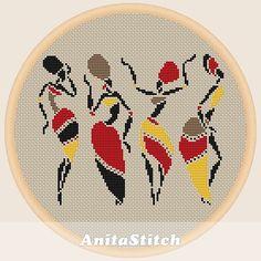 Mujeres africanas baila punto de cruz patrón