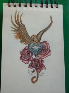 Phoenix, Rose, Herz, Heart, Tattoo, Sketching, drawing