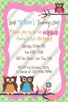 Girly Owl Invite - Free Download Customize with your own text.