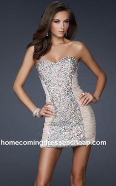La Femme 16368 Cheap Sparkly Strapless Mini Dress Nude