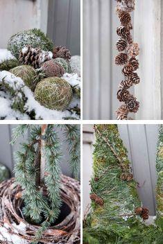 Kongler, mose og vintergrønt er lekkert ute til jul Twig Christmas Tree, Lego Christmas, Green Christmas, Christmas Crafts For Kids, Christmas Wreaths, Christmas Decorations, Xmas, Holiday Decor, Baby Food Jars