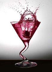 Pink Malibu mmmm  1 oz Malibu rum   1 oz cherry juice   2 oz pineapple juice   crushed ice   2 cherries