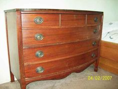Collectibles-General (Antiques): Antique 'DIXIE' Mahogany Bow front dressers., mahogany veneer, antique mahogany