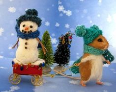Needle Felted Christmas Lights Mouse Red Wagon Snowman by Artist Robin Andreae