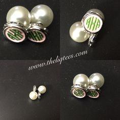Two-faced earrings. Monogram AKA or Pearl. You choose!