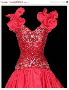 6f51c02f232 ON SALE Vintage 80s Mike Benet Red Sparkle High by calicovintage 80s Prom