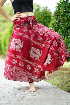 f2fce4035b1 Plus size Boho Skirt Gypsy Hippie Clothing Elephant Red Asymmetric hem  design