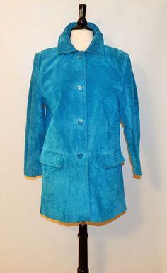 Brownstones studio  Genuine Leather turquoise suede Jacket Coat Size L petite #Brownstonesstudio #BasicCoat
