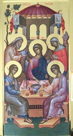 The Hospitality of Abraham is also the Icon of the All-Holy, Consubtantial and Undivided Trinity. Byzantine Icons, Byzantine Art, Religious Icons, Religious Art, Monastery Icons, Greek Icons, Friend Of God, Church Icon, Roman Church