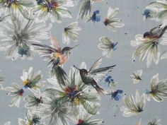 Andean Hummingbird Cotton Lawn - Grey - Fabric Godmother