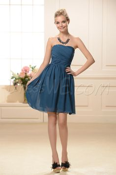 Dresswe.com SUPPLIES Simple Knee-Length A-line Strapless Bridesmaid Dress Bridesmaid Dresses 2014