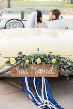 Floral just married sign on the back of a Yellow vintage wedding getaway car, Cavin Elizabeth Photography Wedding Blog, Wedding Day, Wedding Bride, Wedding Dress, Garden Wedding, Wedding Stuff, Dream Wedding, Wedding Getaway Car, Wedding Ceremonies