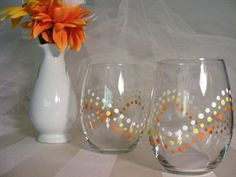 polka dot wine glasses with polka dots perfect by DelightfulFinds