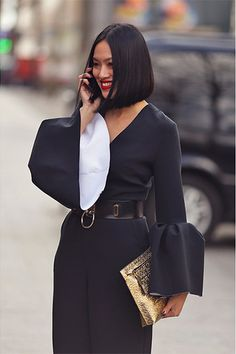 Photo by Vali Barbulescu of Tiffany Hsu in the Zana Bayne 'Choker Belt' during Paris Fashion week
