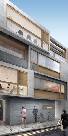 Clerkenwell Apartments | Projects | Divercity Architects Modern Residential Architecture, Japanese Architecture, Concept Architecture, Facade Architecture, Facade Design, Exterior Design, Halls, Apartment Projects, Interesting Buildings