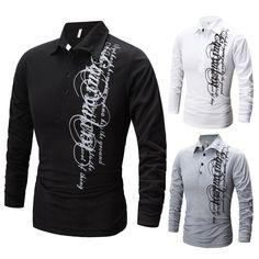 2015 Fashion Brand Men'S Long-Sleeved Polo Shirt Lapel Designer Letters Printed Men Slim Casual Outdoor Ventilation M ~ XXL T21