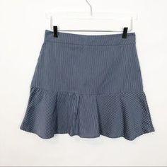 iorane Skirts | Iorane Striped Poplin Ruffle Hem Skirt Medium | Poshmark Drop Waist, Poplin, Blossoms, Cheer Skirts, Ruffles, Stripes, Medium, Outfits, Things To Sell