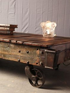 A Vintage Industrial Cart With Wheels Is A Cool Attractive And Very  Functional Coffee Table For Your Living Room.