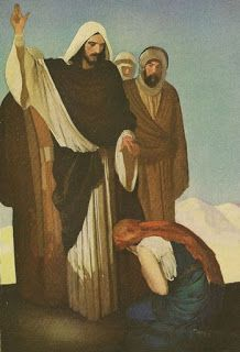 Healing the Sick Gustaf Tenggren - From The Christ Story for Boys and Girls by Abraham Mitric Rihbany (Houghton Mifflin, Riverside Press: Jesus Christ Images, Jesus Bible, Jesus Art, Christian Paintings, Christian Artwork, Bible Pictures, Jesus Pictures, Religious Icons, Religious Art