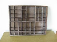 """Large SHADOW BOX -wood wall shelf -  20"""" x 16"""" - horizontal -display case- wall curio -miniatures collections case- 49 compartments by oakiesclaptrap on Etsy"""