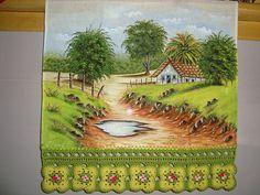 Paisagem linda | por Rose Nascimento - Pintura em Tecido Fabric Painting, Painting & Drawing, Cenas Do Interior, Decoupage, Landscape Paintings, Drawings, Landscaping, Towel, Mountain