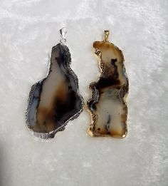 Wholesale 5pcs/lot Freeform Gold plated and Silver Plated Edge Geode Agate Slices Pendants Charms $30.90