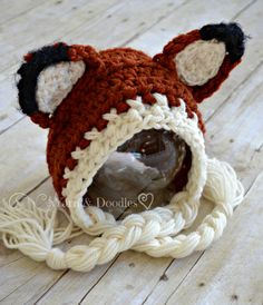 Woodland Fox Crocheted Baby Newborn Infant Photo Prop Photography Halloween Costume Bonnet