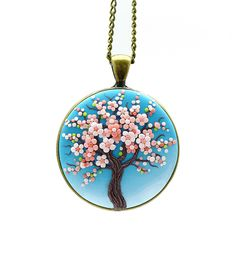 Sakura-necklace Tree-Of-Life necklace pendant Cherry blossom necklace Tree-Of-Life jewelry Floral pendant necklace Nature necklace Gift Fimo Polymer Clay, Polymer Clay Flowers, Polymer Clay Necklace, Polymer Clay Pendant, Polymer Clay Projects, Polymer Clay Creations, Diy Necklace Holder, Clay Keychain, Polymer Clay Embroidery