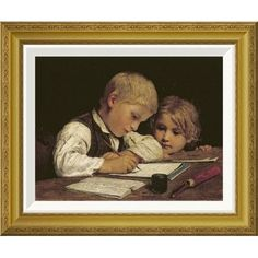 Global Gallery 'A Boy Writing' by Albert Anker Framed Painting Print Size: