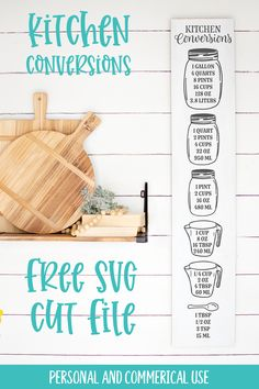 Free Kitchen Measurement Conversion Chart SVG Cut file for electronic cutting machines such as Cricut and Silhouette. Use this design for a sign or with vinyl inside your kitchen cupboard. #free #svg #cutfile #masonjar #farmhouse #measuringcup #kitchendecals Kitchen Measurement Conversions, Measurement Conversion Chart, Kitchen Conversion, Kitchen Measurements, Kitchen Decals, Free Svg Cut Files, 3d Projects, Wall Signs, Cricut Design